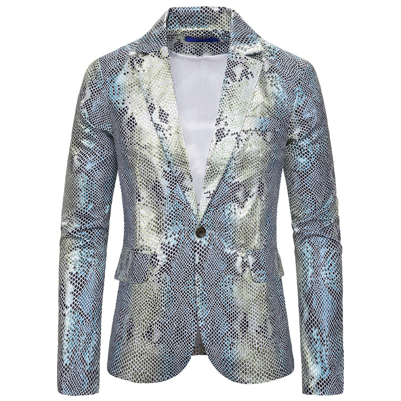 Mens Blazer Jacket Hipster White Peacock Jacquard Print Dress Blazers Tuxedo Blazer Men Party DJ Club Slim Fit Suit Jacket Male