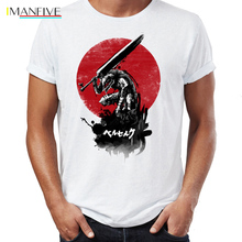 Berserk Anime T Shirt men Summer cool Short Sleeve Tshirts for boys Mens O-neck Casual t-Shirt Guts Casca White Print tops Tee