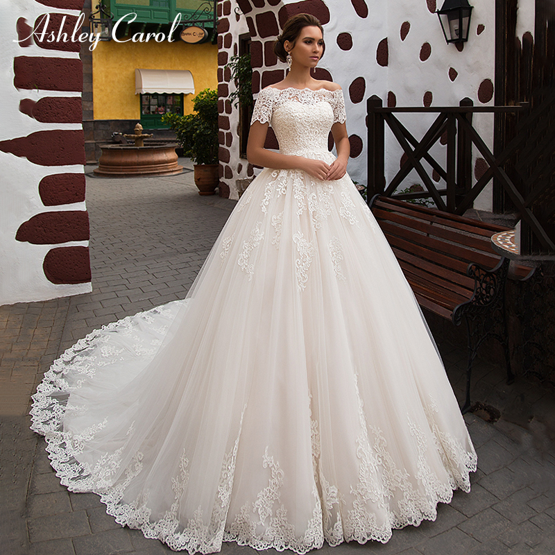 Ashley Carol With Jacket Sexy Sweetheart Princess Wedding Dresses 2019 Romantic Tulle Short Lace Up Vintage A-Line Wedding Gowns
