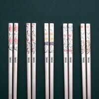Palillos de acero inoxidable 316, 5 pares, grabado láser de lujo, palillos coreanos, flores, palos de comida, 25/27cm