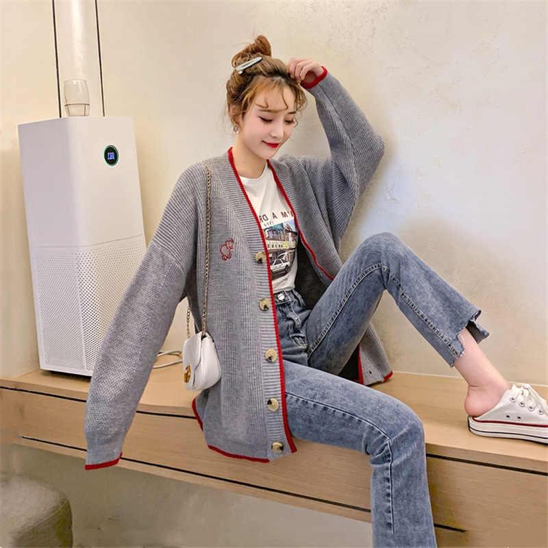 한국어 스웨터 카디건 여성 2019 가을 신입생 싱글 브레스트 니트 스웨터 여성 오픈 스티치 뜨개질 아웃웨어 mujer