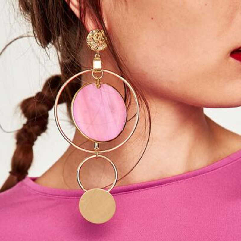 Korean Style Asymmetric Drop Earrings for Women Gold Color Big Hollow Round Circle Long Earrings Fashion Jewelry Gift