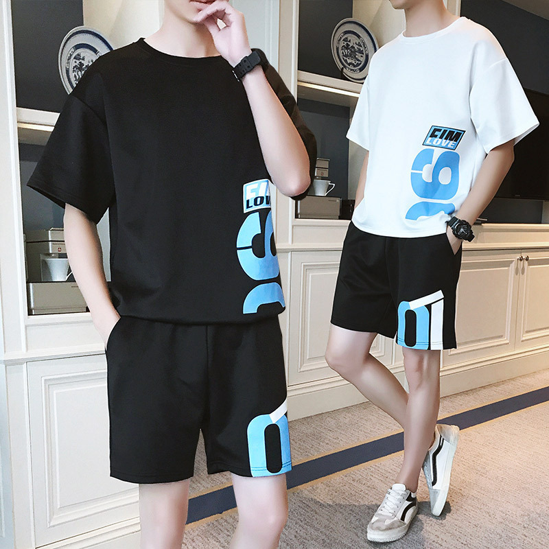 Crew Neck Short Sleeve Summer Thin Section Handsome T-shirt Fashion Man Set 2018 New Style Korean-style Trend Men'S Wear Loose-F