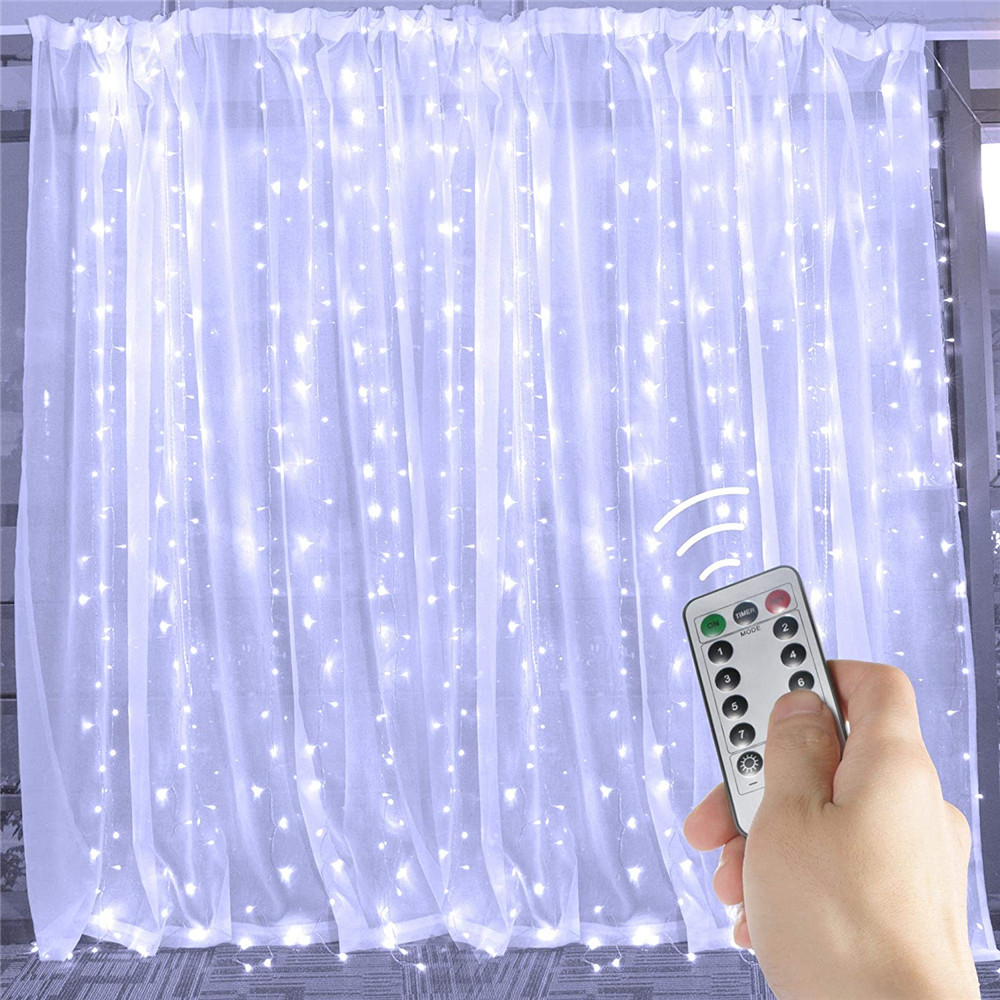 3x1/3x2/3x3/6M LED Remote Control Curtain Fairy Lights Christmas Garland Lights Party Garden Wedding Decor LED String Lights