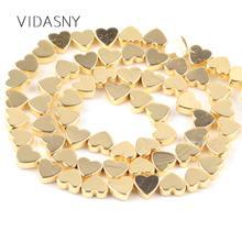 цены на Natural Stone Heart Shape Gold Hematite Beads For Needlework Jewelry Making 6 8mm Spacer Loose Beads Diy Necklace Bracelet 15'' в интернет-магазинах