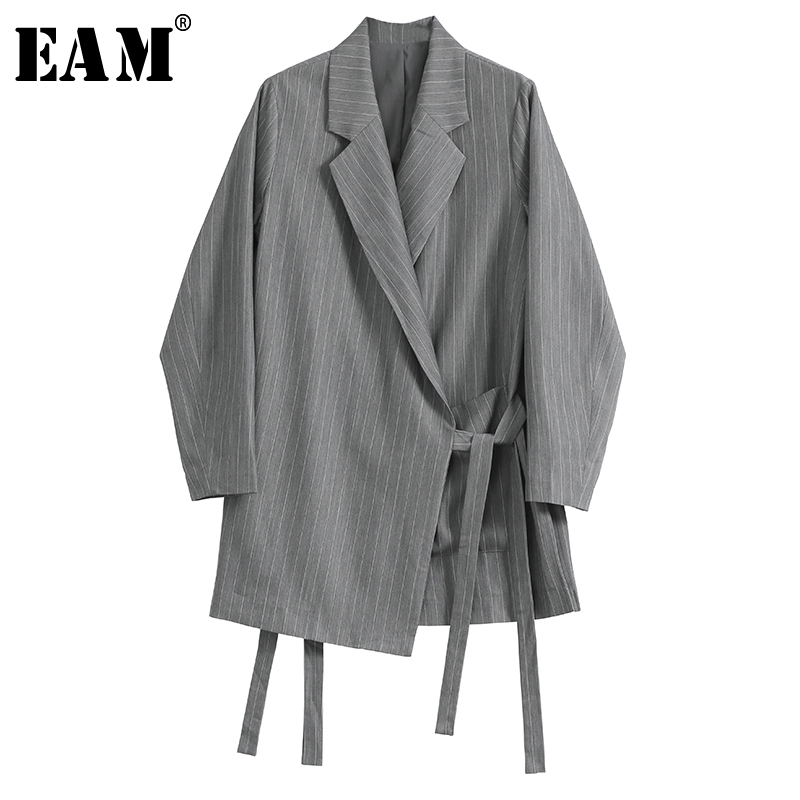 [EAM]  Women Gray Striped Bandage Temperament Blazer New Lapel Long Sleeve Loose Fit  Jacket Fashion Spring Autumn 2020 1R966