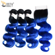 Doozy Body Wave 1B/Blue Brazilian Hair Ombre Color Remy Human Hair 3 Bundles With Lace Closure(China)