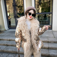 Womens Time-limited Feathers Broadcloth Winter Jacket Glossy 2019 New Collar Woman Large Size