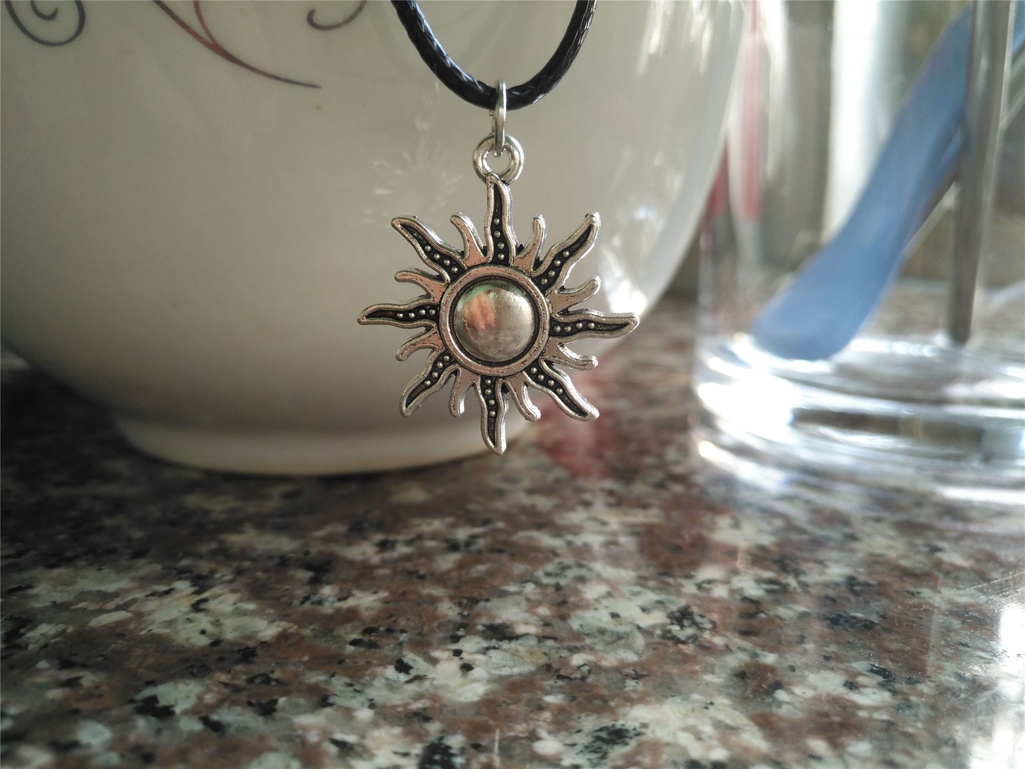 new universe Sun Moon star Starry sky Necklace Sunshine happiness sign Best Friends Gift For family pendant leather
