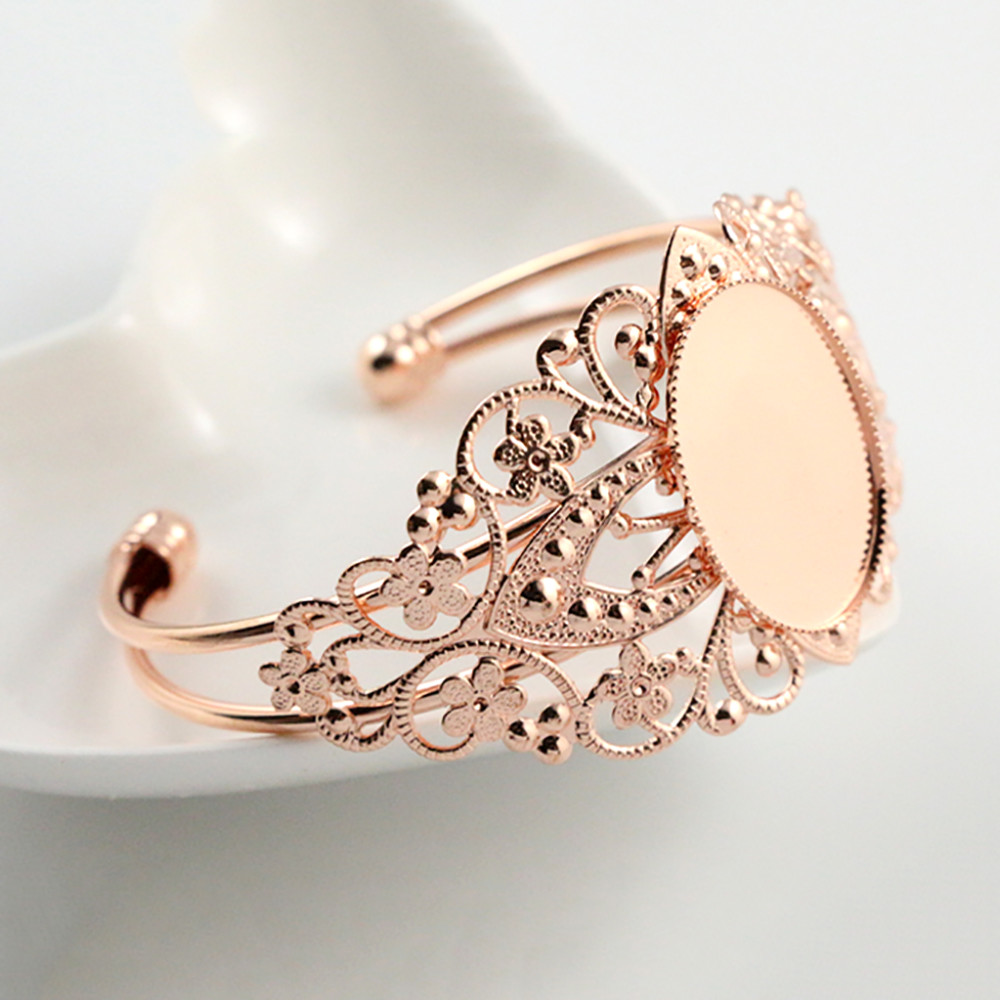 High Quality  18x25mm Rose Gold Color Plated Bangle Base Bracelet Blank Findings Tray Bezel Setting Cabochon Cameo L1-16