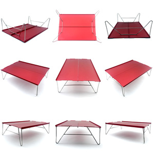 Image 3 - Ultra light mini picnic table aluminum folding tea table outdoor camping hiking hiking portable barbecue table