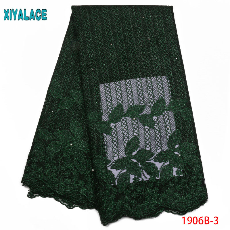 Gary Green African Laces Embroidered Nigerian Laces Fabric High Quality Dubai French Mesh Lace Fabric 5 Yards  YA1906B-3