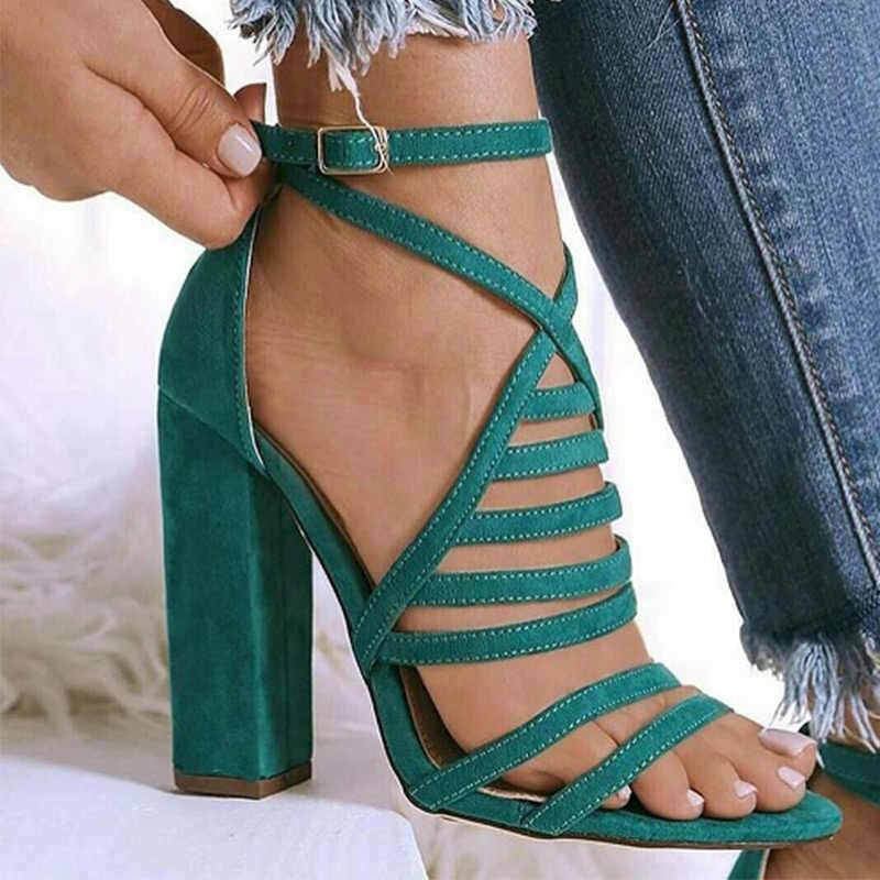 נשים גלדיאטור סנדלים סקסי גבירותיי אבזם צלב רצועת אישה עקבים גבוהים תחבושת מסיבת נעלי נשי אופנה קיץ נשים של 2020