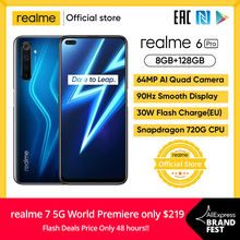 realme 6 Pro Smartphone 6.6inch 8GB RAM 128GB ROM Snapdragon 720G Telephone 4200mAh Battery 30W Flash Charge 64MP Mobile Phones