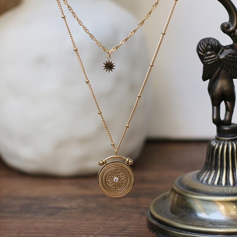 Модное Двухслойное ожерелье-чокер из титановой нержавеющей стали, ожерелье со звездой и монеткой для женщин и девушек, подарок