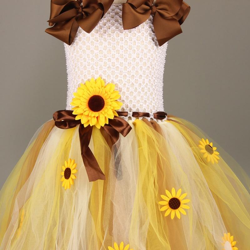 Sweet Sunshine Sunflower Tutu Dress with Matching Headband Flower Girl Bridal Birthday Pageant Costume Kids Autumn Dresses (14)