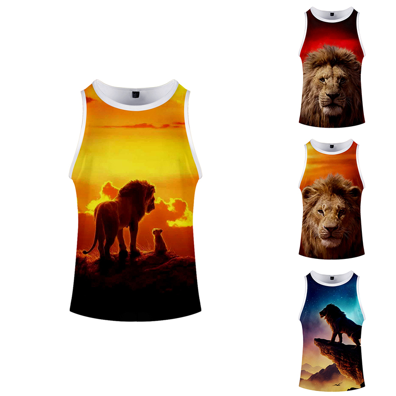 Summer Fashion Hip Hop Cartoon King Lion Costume Printed 3d Bodybuilding Tank Tops Sleeveless Men Women Clothing Fitness 3D Vest