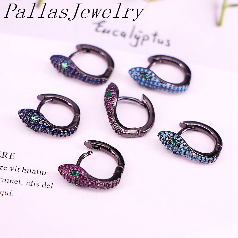 5Pairs,13*17mm Small Hoop Earrings Women CZ Snake Earring Gun Black Color Jewelry Trendy Earring