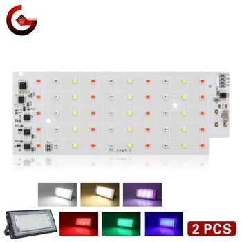 2pcs/lot 50W RGB LED Chip for Flood Light SMD 2835 Outdoor Floodlight Spotlight Lighting Beads AC 220V For LED Street Lamp цена 2017