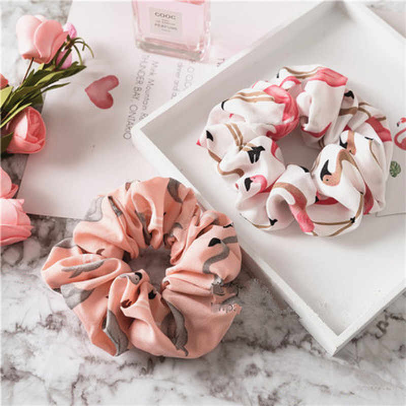 Floral Flamingo Solid Houndstooth Design Women Hair Accesories Hair Tie Scrunchie Ponytail Hair Holder Rope