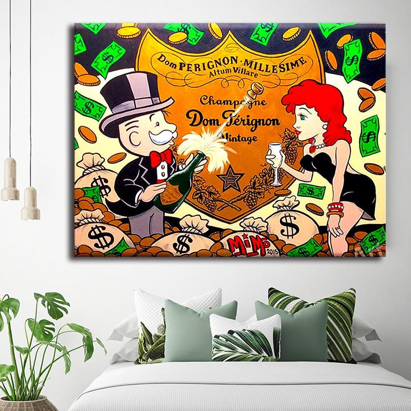 Imágenes modulares, lienzo de la pared del Monopoly, pinturas de Graffiti impresas, póster de champán, salón, belleza, marco de decoración para el hogar