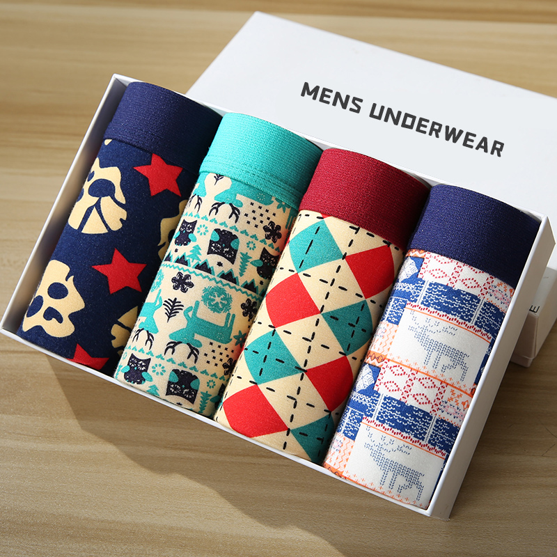 4pcs Men Underwear Boxers Fashion Printed Mens Underpants Men's Boxer Shorts Modal Male Panties Pouch Sheath Cuecas Homme