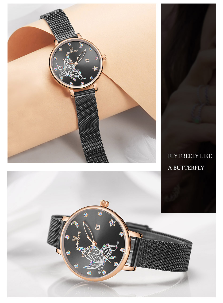 Hd8f67716863b4c89a87a87e96284b9abH - NAVIFORCE Luxury Brand Watch Women Fashion Dress Quartz Ladies Mesh Stainless Steel 3ATM Waterproof Casual Watches for Girl