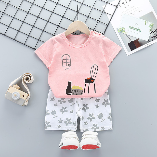 Summer Cotton Pijama Infantil Short-sleeved Baby Girl Clothes Suit Cartoon Children Clothing Kids Pajamas Toddler Boys Sleepwear