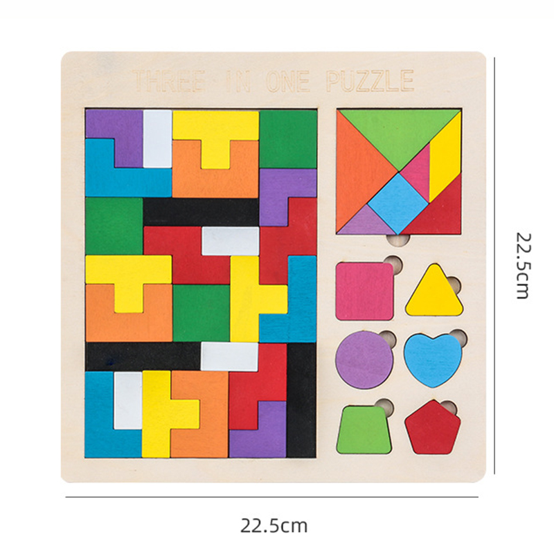 3 in 1 3D Puzzle Wooden Tangram Children Pre-school Magination Intellectual Educational Math Toys Game Puzzle Bloacks for kids 3