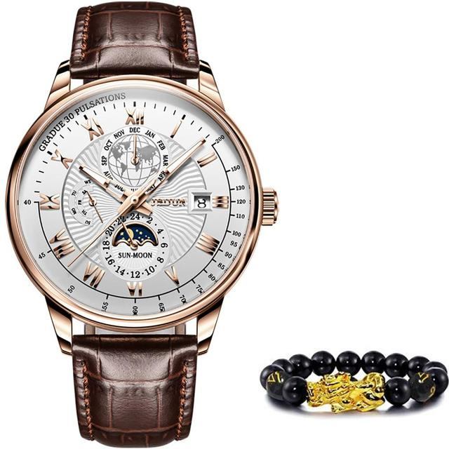 Men Mechanical Watch Top Brand Luxury Automatic Watch Leather Waterproof Sports Moon Phase Wristwatch relogio masculino 6