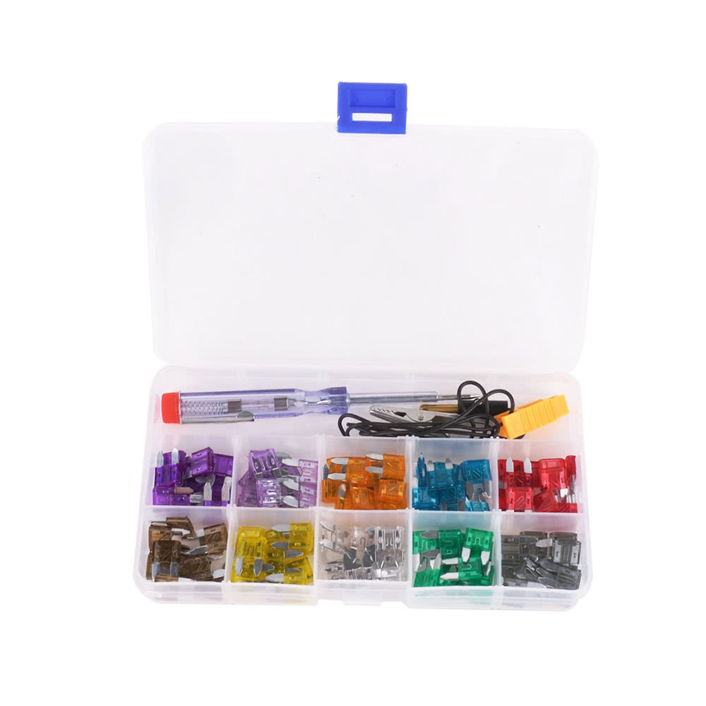 100pcs Mini Car Fuse Kit Color Coded For 10 Amps Fuses With Electric Tester Mini Car Fuse Kit Ten Amps Fuse Car Fuses
