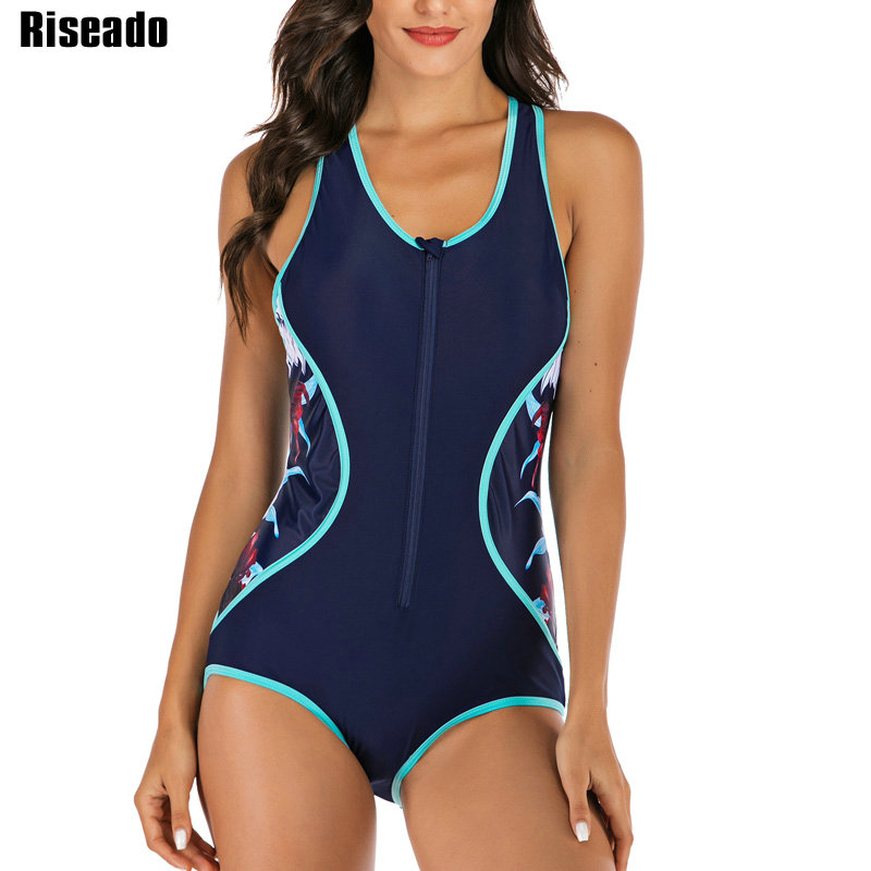 Riseado Sport One Piece Swimsuit Women Floral Printing Competition Swimwear 2020 Racerback Rash Guards New Bathing Suits(China)