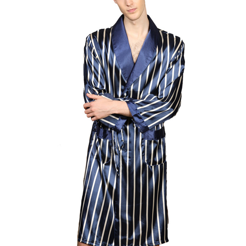 Men Robes Fashion Long Sleeve Bathrobe With Striped Casual Home Bathrobe Pajamas Autumn Sleep Nightwear Male