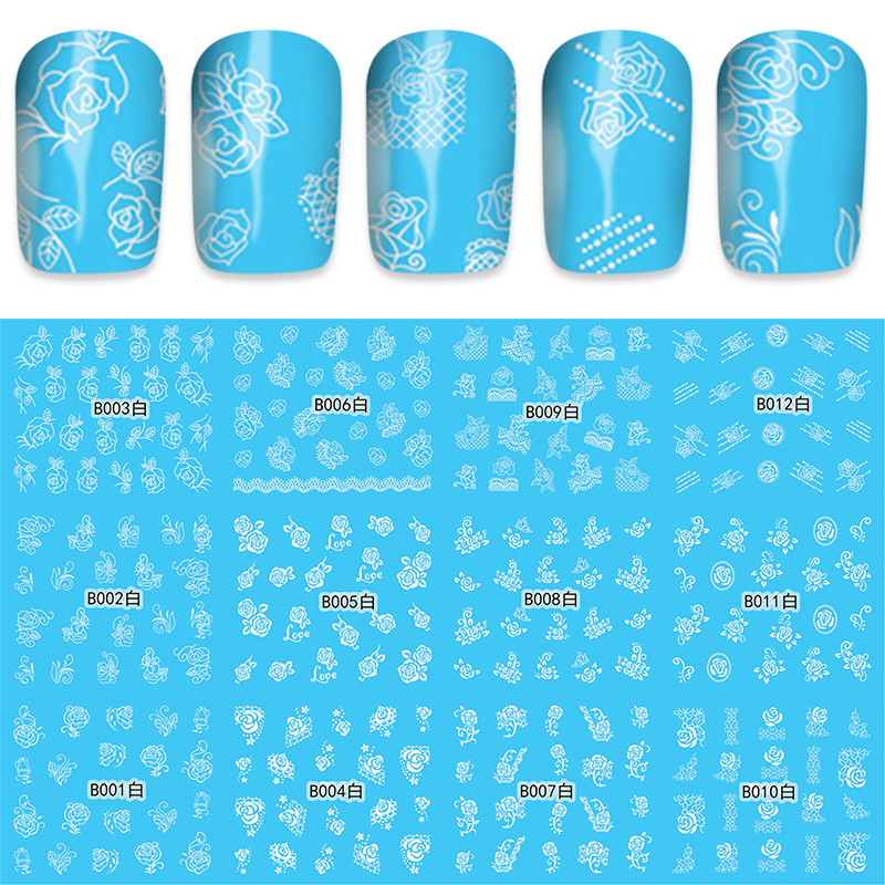 Wish AliExpress 12in1 Water Transfer Nail Sticker Blue With White Flowers English B Summary