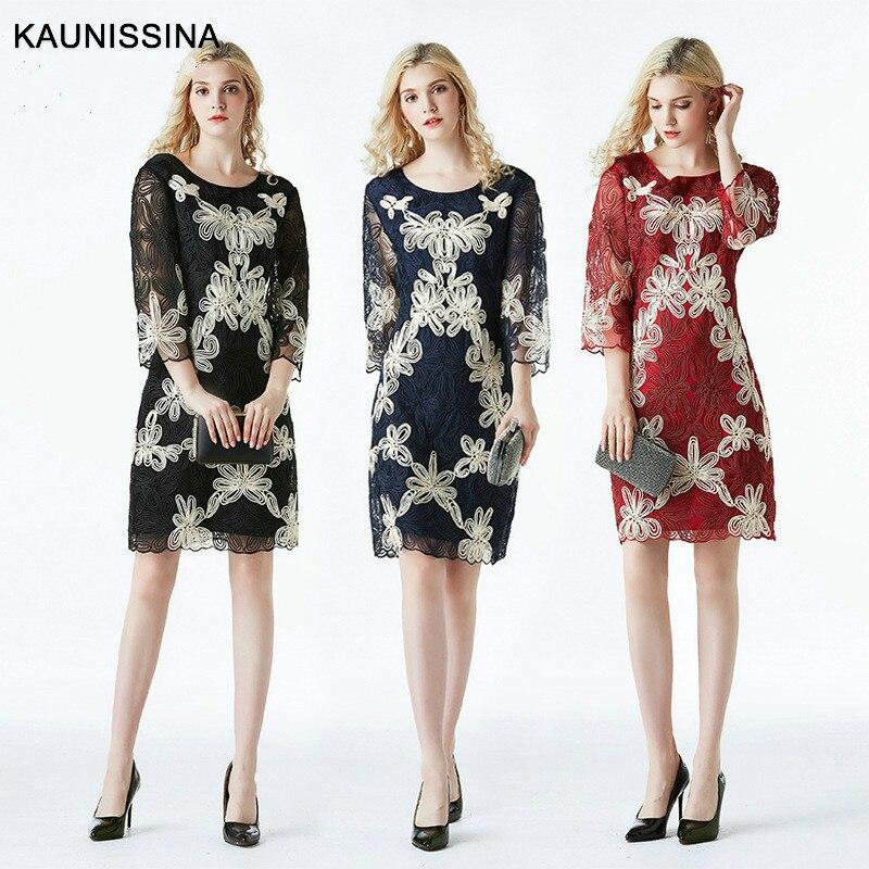 KAUNISSINA Embroidery Cocktail Dresses Robe 3/4 Flowers Elegant Short luxuxy Party Vestidos Homecoming Dress