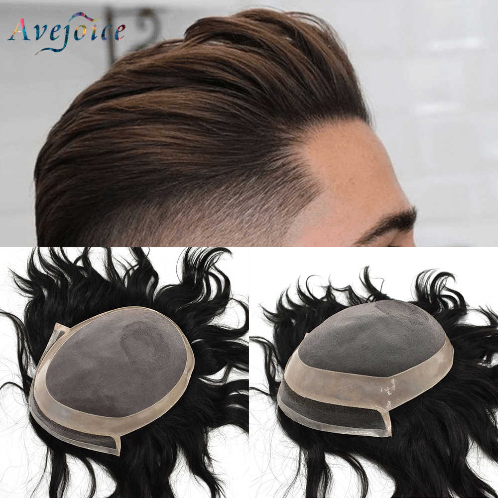 Fine Mono & PU Mens Toupee with Natural Lace Frontline Men Hairpieces Remy Human Hair Replacement System For Men Avejoice