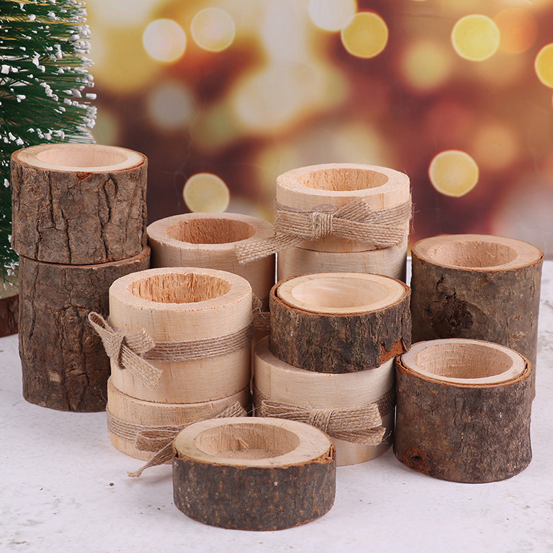 3Pcs/Lot Wooden Crafts Ornaments Candleholder Creative Bark Wood Stump Candle Holder Home Decoration Succulent Small Flower Pot