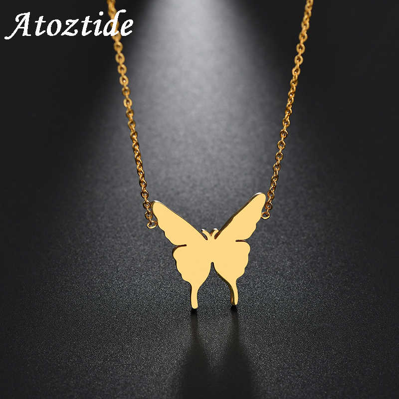 Atoztide Cute Stainless Steel Butterfly Pendant  Necklace For Women Simple Gold Insect  Necklace Fassion Jewelry 2019