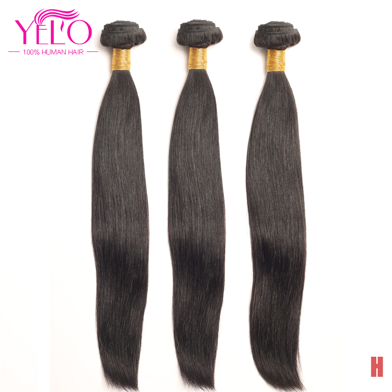 YELO High Ratio Brazilian Remy Straight 3Pcs/lot 100% Human Hair Extensions 8 30inch Natural Color Free Shipping