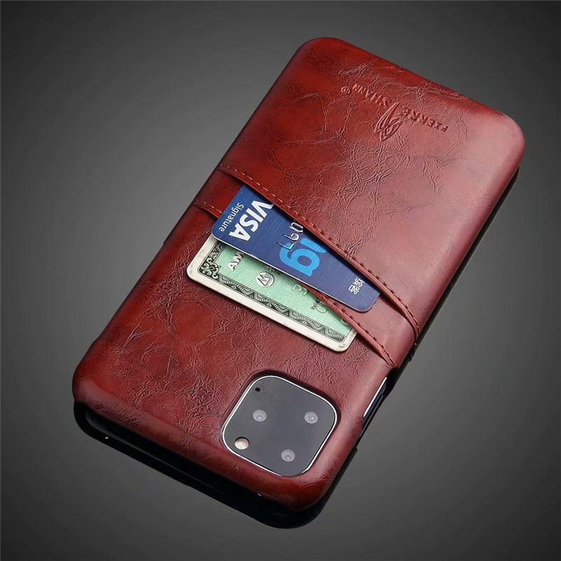 Slim Hard Leather Card Holder Case for iPhone 11/11 Pro/11 Pro Max 2