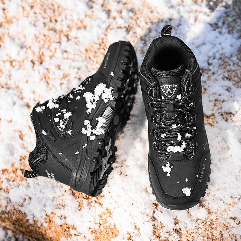 Marke Männer Winter Schnee Stiefel Warme Super Männer Hohe Qualität Wasserdichte Leder Turnschuhe Outdoor Männlichen Wandern Stiefel Arbeit Schuhe 39 -47
