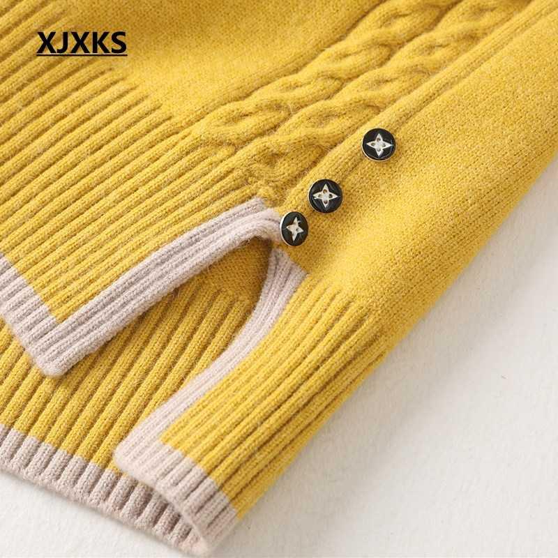 Xjxks Musim Gugur Musim Dingin 2020 Turtleneck Sweater Wanita Korea Elastis Pullover Musim Dingin Baju Top Rajutan Sweater Tarik Femme