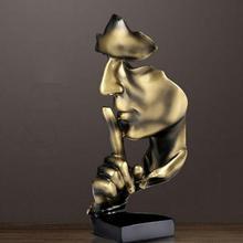 Office Home Decor NEWQZ Creative Abstract Men Figurine Sculptures Black Keep Silence Statue Thinker Statue