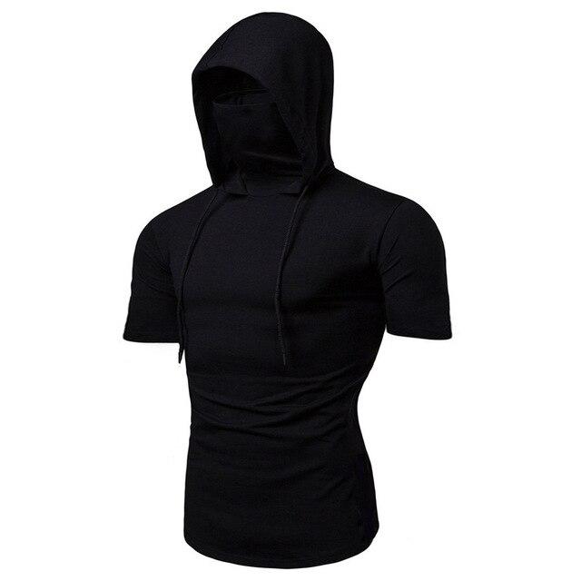 Fashion Short-Sleeved Mask Hooded T Shirt Men Casual Elastic Solid Fitness Tshirt Hip Hop Slim Fit Male T-shirt Streetwear M-3XL 2