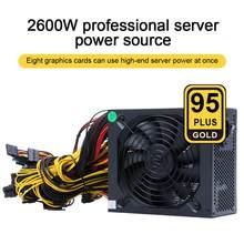 ATX ETH-fuente de alimentación para minero de Bitcoin, 2400W, 95% eficiencia, soporte multicanal, 8 tarjetas de visualización, GPU, 2600W Max