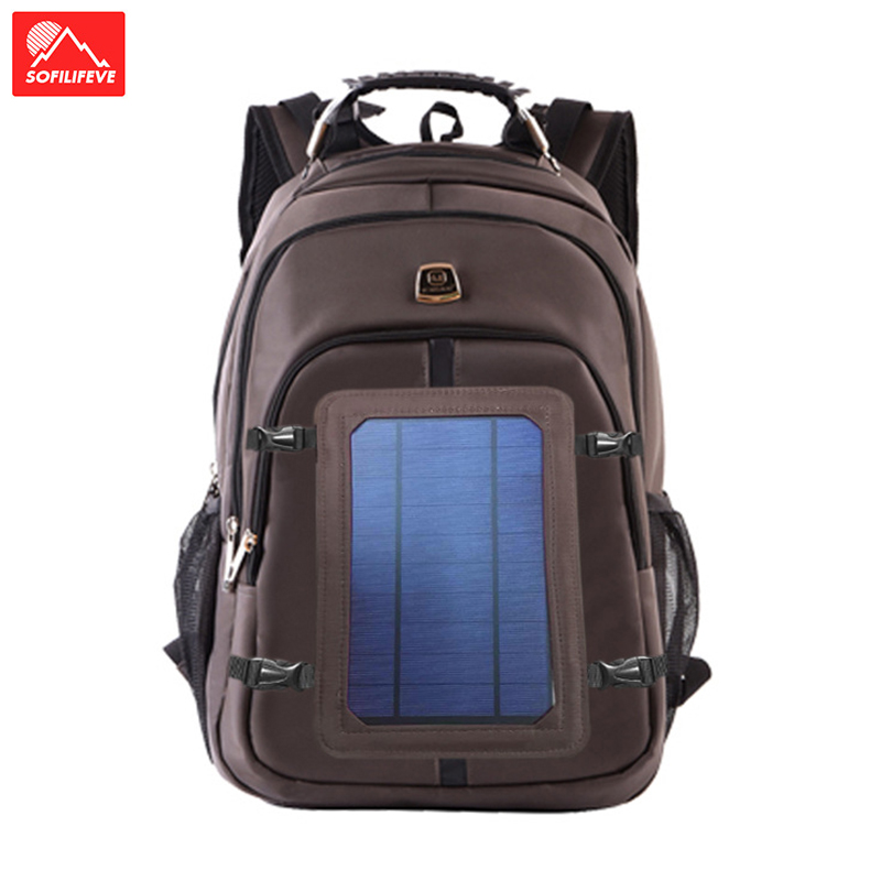 Solar Battery Backpack USB Charing Phone Luggage Rucksack Camping Sport Travel School Laptop Male Female Climbing Bag