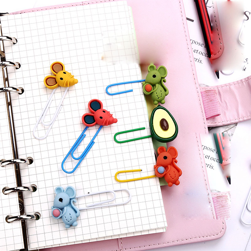 60 Pcs/lot Cartoon Avocado Mouse Bookmark For Book Cute Binder Clips Notes Letter Paper Clip Office School Supplies