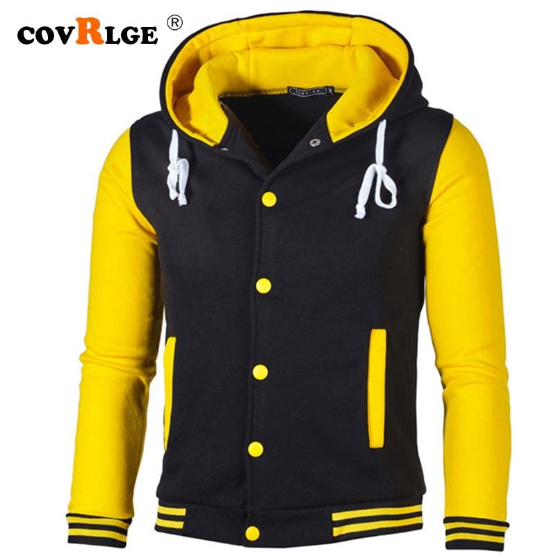 Covrlge 2019 Men's Hoodies Pullovers Striped Patchwork Baseball Jacket Sweatshirts College Varsity Coats Thin Hoodie Men MWW176