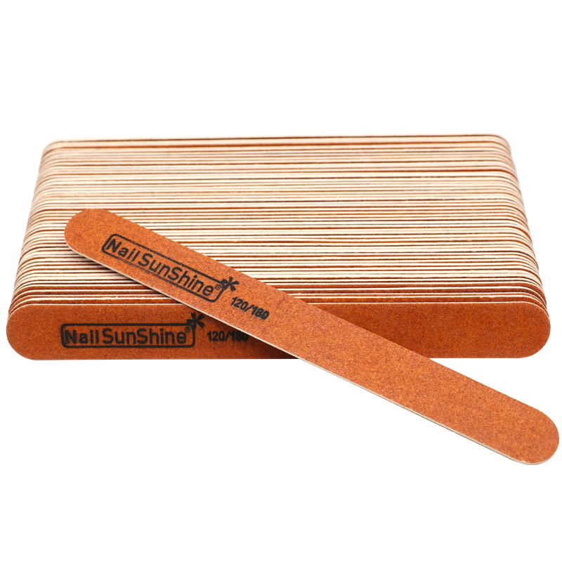 50Pcs/lot Wooden Sandpaper File <font><b>120</b></font>/180 Sanding Buffer <font><b>Strong</b></font> Stick Washable Straight limes a ongles Nails Art Care Tools image