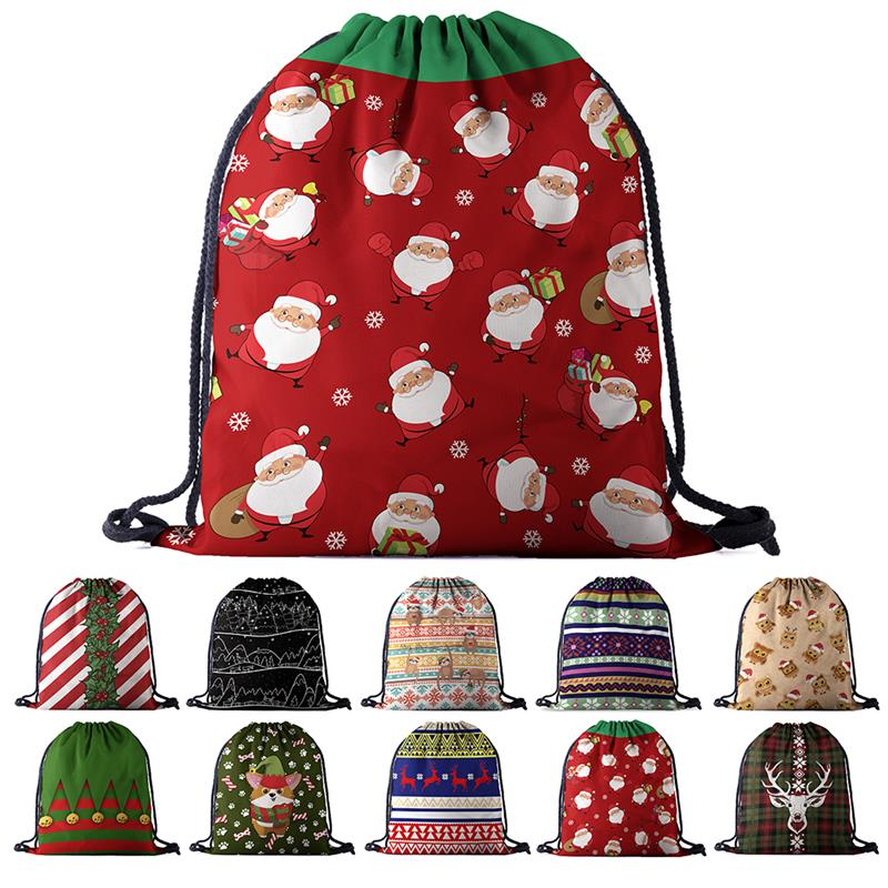 Creative Cartoon Pattern Christmas Drawstring Backpack Fashion 3D Print Drawstring Bag Drawstring Sack Festival Gifts For Xmas